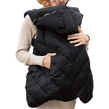 Sweet Mommy 抱っこ紐 カバー 防寒ケープ ダウン90% 軽量 ベビーカーフットマフ おんぶ対応 撥水 オーガニックコットン100%ベロア フード取り外し可能 ブラック