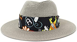 Sun Hat for men and women Handmade Straw Panama Hat Sombrero For Summer Women Beach Travel Hat Chapeu Feminino Striped Floral Satin Jazz Hat Size 56-58CM