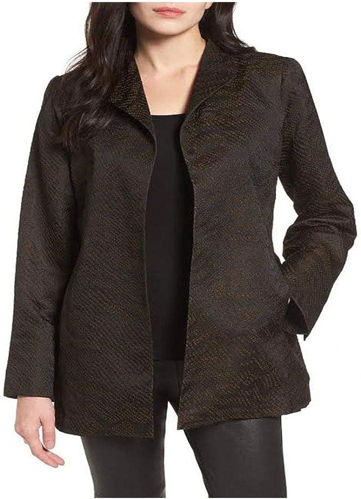 Eileen Fisher Max 79% OFF Black Silk Blend Collar Jacket Wave Elegant Jacquard Hi