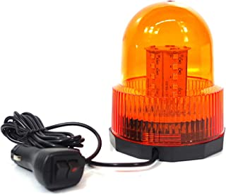 Xprite Super Bright Amber/Yellow Rotating Revolving LED Beacon Strobe Light,with Magnetic Mount, 60LEDs 15W Emergency Warning Caution Flashing Light for Snow Plow Truck UTV 12v Vehicle