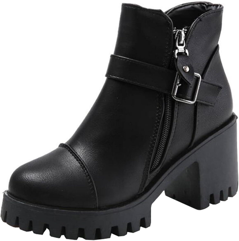 IDIFU Women's Classic Buckle Platform Side Zipper Ankle Boots High Chunky Heels