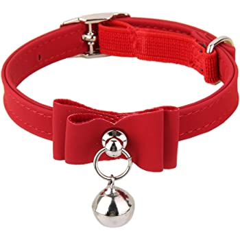 Generic Adjustable Bell Buckle Velvet Neck Strap For Kitten Cat Puppy - Red