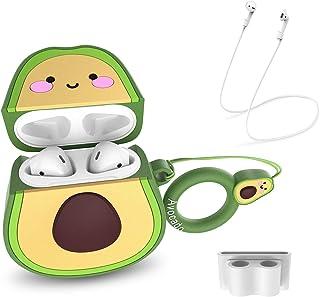 CE-Link för frukt Airpods 1 och 2 fodral fodral söt 3D rolig tecknad mjuk silikonhud med personlig cool nyckelring vita ai...