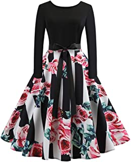 Women Vintage Dresses Long Sleeve O Neck Evening Printing Party Prom Swing Dress