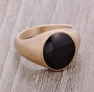 Polished Golden and Black Fashion Ring for Men US Size 11