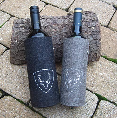 zigbaxx Weinkühler/Flaschenkühler PLATZHIRSCH, dekorative Flaschen-Hülle/Kühl-Manschette für Wein- und Sektflaschen aus 100% Woll-Filz mit Hirsch aus Strass & Studs - Geschenk Weihnachten Jäger