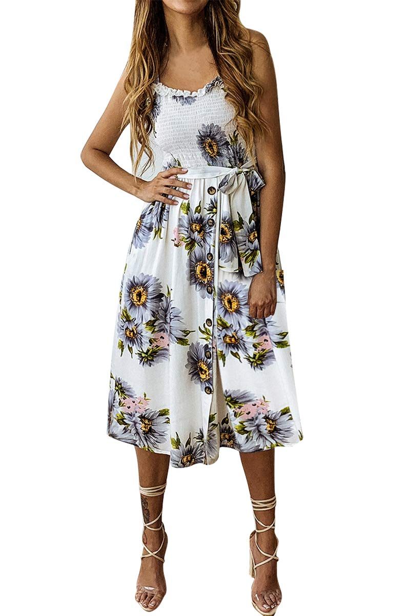 Available at Amazon: Demetory Women's Summer Floral Bohemian Spaghetti Strap Button Down Swing Midi Dress with Pockets
