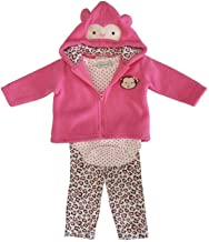 Kyle & Deena Baby Girls Pink Dotted Bodysuit Hooded Top 3 Pc Pant Set 0-9M