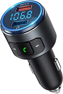 VicTsing Car FM Transmitter Bluetooth V5.0, QC3.0 Wireless Radio Adapter with LED Backlit & 2 USB Ports & Siri Voice Assis...