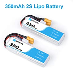 BETAFPV 2pcs 350mAh 2S Lipo Battery 35C/70C 7.4V with XT30 20AWG Silicone Wire for 2S Whoop Drone Beta75X Brushless Drone
