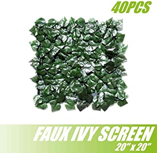 ColourTree DIY Make Your Own Artificial Hedges Faux Ivy Leaves Fence Privacy Screen Panels Decorative Trellis - 20'' x 20'' - Mesh Backing - 3 Years Full Warranty (40)