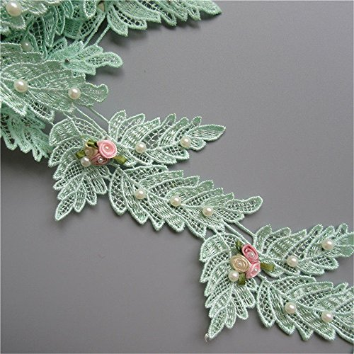 1 Meter Leaf Shape Flower Pearl Lace Edge Ribbon 7cm Width Green Trimmings Vintage Style Fabric Embroidered Applique Sewing Craft Wedding Bridal Dress Embellishment Party Decoration Clothes Embroidery