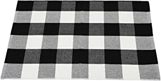 Buffalo Plaid Area Rug Washable Carpet Floor Mats 24 x 51 Inches Cotton Woven Outdoor Indoor Rugs Farmhouse Welcome Layere...