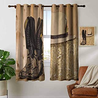 Western Insulated Room Darkening Curtains,Mystery Dark Skin Girl with Headdress Eye to Eye with Huge Snake Blackout Curtains for Bedroom W55 x L45 Inch Cream Brown