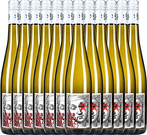 VINELLO 12er Weinpaket Weißwein - Liebfraumilch 2019 - Weingut Hammel mit Weinausgießer | halbtrockener Weißwein | deutscher Sommerwein aus der Pfalz | 12 x 0,75 Liter