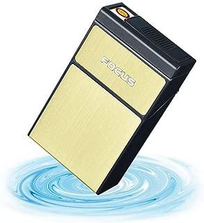 LIFANGAU Rechargeable Cigarette Lighter, Portable Personality Creative Men's USB Cigarette Case, White, Gold, Black (Color : Gold)