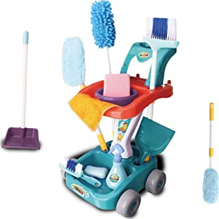 SKEIDO Kids Cleaning Set, kids pretend play 11 pcs broom set with cleaning cart, brooms, and mop Preschool Toy Gift for Ki...