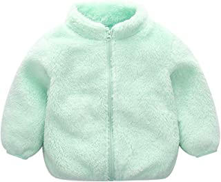 Weixinbuy Baby Boy's Girl's Solid Color Faux Fur Fleece Jacket Overcoat Zipper Up Winter Warm Plush Coat
