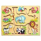 Bino Motorikspiel Africa, Spielzeug für Kinder ab 3 Jahre, Kinderspielzeug (Holzspielzeug mit verschiedenen Tiermotiven, Schiebepuzzle zur Förderung der Motorik & Hand-Augen-Koordination), Mehrfarbig