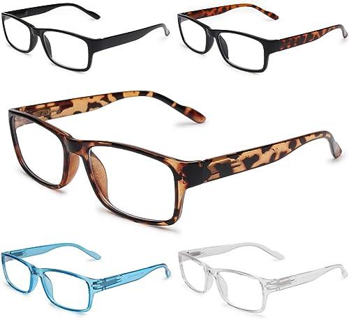 Gaoye 5-Pack Reading Glasses Blue Light Blocking,Spring Hinge Readers for Women Men Anti Glare Filter Lightweight Eye...