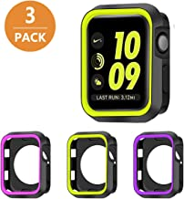 SYOSIN 3-Pack Compatible with Apple Watch Case 42mm Silicone Protective Cover Shockproof Black Bumper for iWatch Series 3 ...