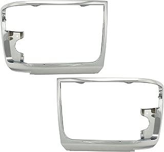 Chrome Headlights Headlamps Trim Bezel Pair Set for Bronco F150 Pickup Truck