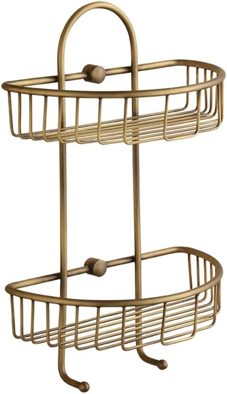 Antique Double-Deck Basket Racks Corner Shelf Bathroom Storage Rack, Brass, Brushed Process, 24.5  38cm