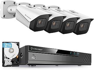 Amcrest 4K Security Camera System w/ 4K (8MP) 8CH PoE NVR, (4) x 4K (8-Megapixel) IP67 Weatherproof Metal Bullet POE IP Ca...