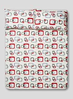 RISHAHOME Printed 180 Thread Count Cotton Bedsheet Set | King Size (1 Fitted Sheet + 2 Pillow Cases) Precinct | 3 Pieces |...