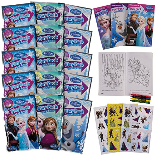 Bendon Set of 15 Kids Frozen Play Fun Party Favors Packs Coloring Book Crayons Stickers