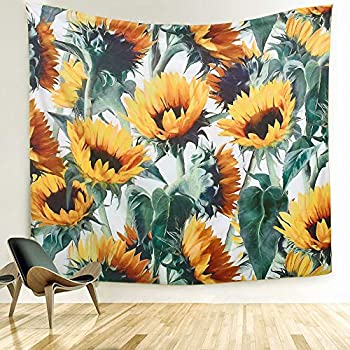 ARFBEAR Sunflower Tapestry Forever Wall Hanging Warm Golden Yellow and Green Wall and Home Decor 59x51 Inches  Medium