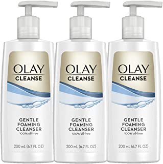 Olay Cleanse Gentle Foaming Face Cleanser for Sensitive Skin, Fragrance Free 6.7 Fl Oz, Pack of 3