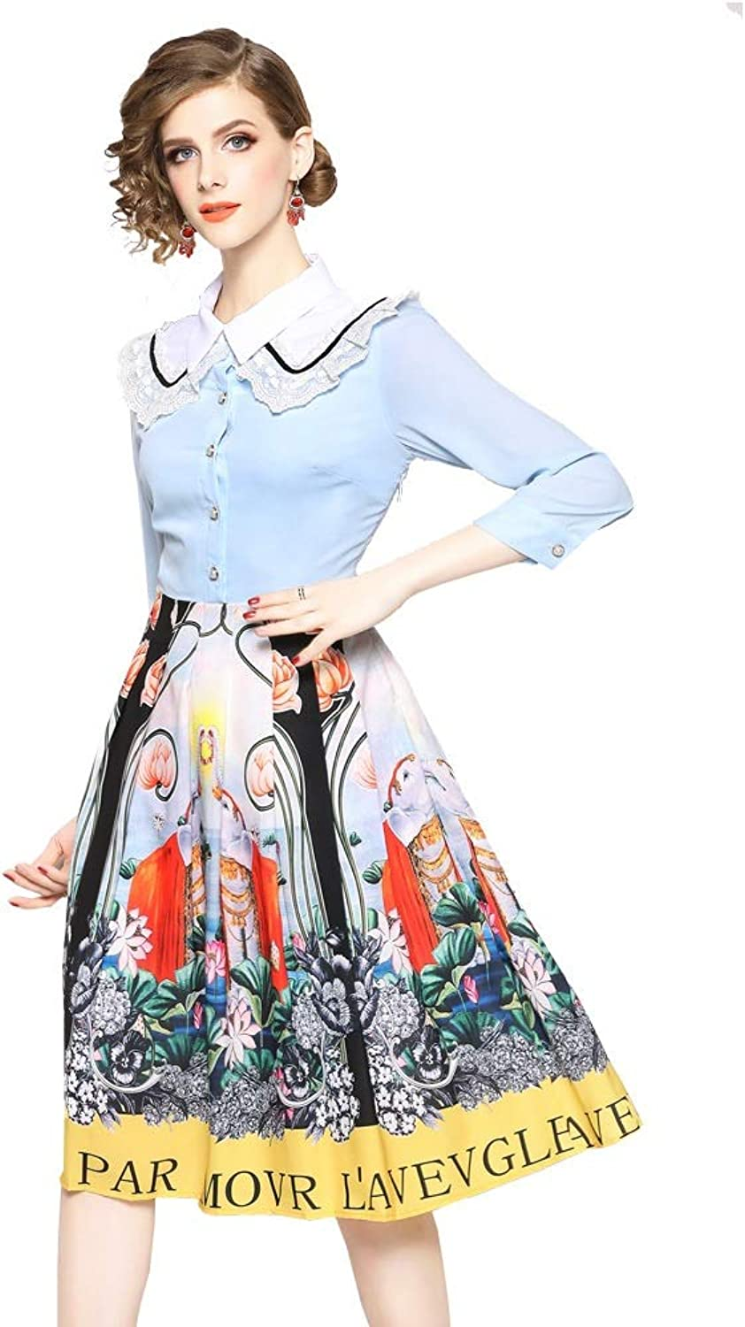 Spring and Autumn Fashion Lapel Lace Print Buttons Sleeve Sleeve Dress Female Party Dress Cocktail Dress Cocktail Formal Dress (color   Photo Colo, Size   S)