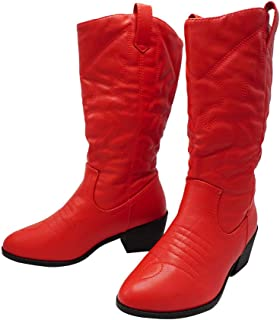 The Right Pair Western Mid-Heel Fuax Leather Cowboy Cowgirl Boots Fashion Comfort Bootie Pull Up Tab WN13