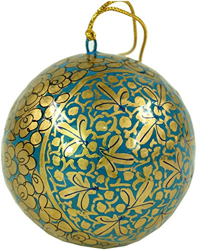 Guru-Shop Upcycelling Kerstballen van Papier-maché, Handgeschilderde Kerstboomversieringen, Kasjmierballen - Patroon 9, Goud, 7x7x7 cm, Kerstversieringen
