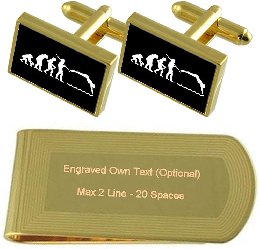 Select Gifts Evolución Ape Man Natación Tono Oro Gemelos Money Clip Grabado Set de Regalo