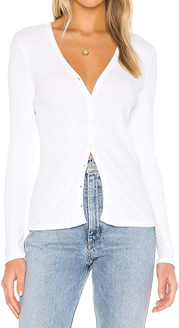 JLCNCUE Women's V Neck Long Sleeves Cardigan Classic Button Down Sweater top 3088