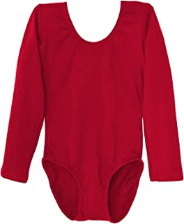 Leotard Long Sleeve Ballet Gymnastics Front Lined Comfy Cotton Kids Ages 2-10