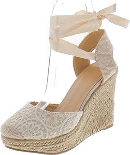 cc0ddb67acc Wild Diva Maegan-32 Women Floral Crochet Ankle Wrap Slingback Espadrille  Wedge - Black