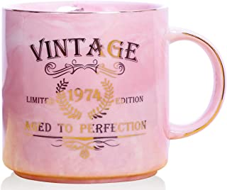 1974 45th Birthday Gifts for Women and Men Ceramic Mug - Funny Vintage 1974 Aged To Perfection - Anniversary Gift Idea for Him, Her, Mom, Dad Husband or Wife - Ceramic Marble Cups 13 oz (Pink)