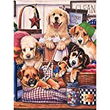 Pintura Por Numeros Diy Dog Set Painting Animal Wall Painting Decoración Para El Hogar A4(40X50Cm Sin Marco)