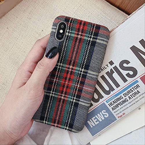 JIA Funda de teléfono de Felpa a Cuadros cálidos de otoño Funda de Tela Simple Funda de TPU Suave para iPhone 11 11 Pro MAX 7 8 Plus X Xsmax XR Funda para iPhone X Gris