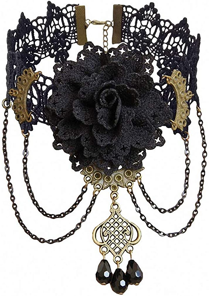 Xileg Gothic Flower Jewelry Vintage Lace Pendant Women Accessories Choker Necklace Black False Collar Statement Necklaces GN-112