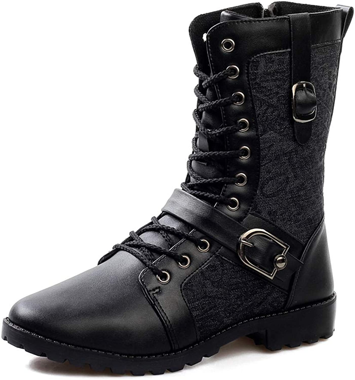 Easy Go Shopping Men's Mid-Calf Boots Faux Fleece Inside Metal Lacing Embossed Canvas Fabric with Metal Belt Buckle Decoration Side Zipper shoes Cricket shoes