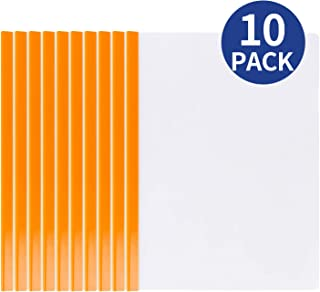 Deli 10 Pack Sliding Bar Clear Report Covers, Transparent Resume Presentation File Folders Organizer Binder for A4 Size Paper, Orange