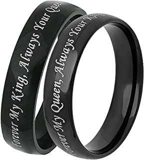 Aooaz Promise Rings Vintage Stainless Ring for Men Black Ring Engraved Forever My King/Queen His and Her Rings Wedding Ring Set
