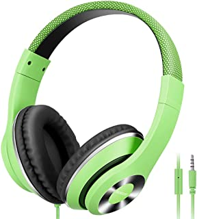 Ausdom Lightweight Over-Ear Wired HiFi Stereo Headphones with Built-in Mic Comfortable Leather Earphones Noise Isolating Adjustable Deep Bass Compatible with iPhone iPod iPad Macbook MP3 Smartphones Laptop- Green