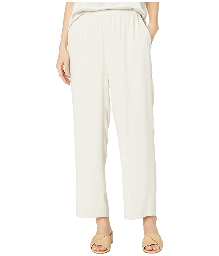 Eileen Fisher  Silk Georgette Crepe Straight Ankle Pants (Bone) Womens Casual Pants