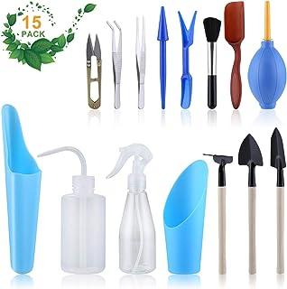 LIHAO 15 Piece Succulent Garden Hand Tools Miniature Fairy Garden Planting Transplanting Tool Set - Improve Your Gardening...