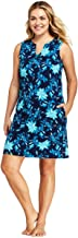 Lands' End Women's Plus Size Cotton Jersey Sleeveless Swim Cover-up Dress Print